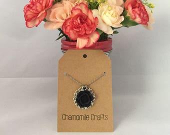 Medallion Rose Necklace Midnight Black