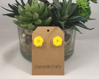 Rose Earrings Sunshine Yellow