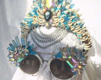 Howlite Large white and blue Sunglasses only (matching crown available)