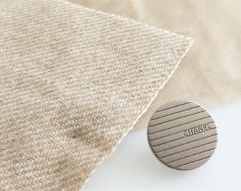 Chanel Fabric Button Swatch / Silver Button 16mm