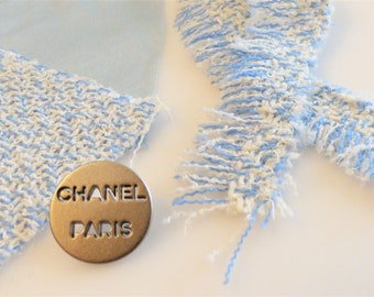 Chanel Fabric Button Fringed Trim Swatch