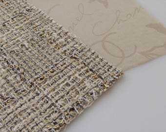 Chanel Fabric Swatch Authentic 10P Beige CC Camellia