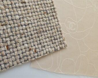 Chanel Fabric Swatch Beige CC Camellia
