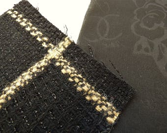 Chanel Fabric Swatch Authentic 09A Black Beige CC Camellia