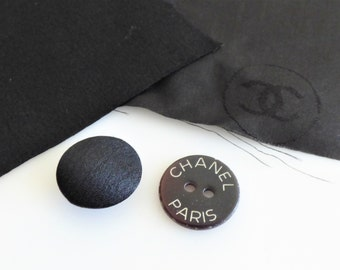 Chanel Fabric Button Swatch Black