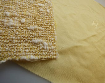 Chanel Fabric Swatch Authentic Yellow CC