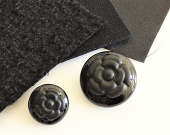 Chanel Fabric Camellia CC Button Swatch 09A