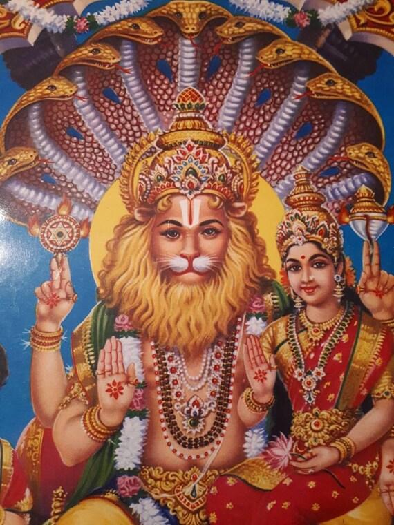 Hindu God Narasimha with Lakshmi