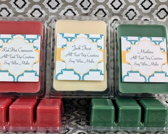 Your Choice of Holiday Scents 100% Soy Wax Melts Hand Poured