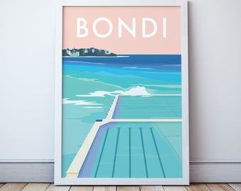 Bondi Icebergs Beach Vintage Style Seaside Travel Print/ Poster