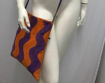 Vintage CARLOS FALCHI Suede Cross Body Suede Bag Orange & Purple Modernist Boho Style