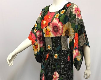Vintage 1970'S Maxi Dress Kimono Sleeves NORMA DELLA LEGGE Made in Italy