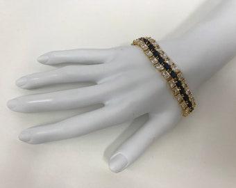 Vintage Sterling Gold Plated CZ SAPPHIRE DBJ Tennis Bracelet