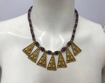 Vintage Sterling AMETHYST EGYPTIAN REVIVAL Necklace Gold Wash