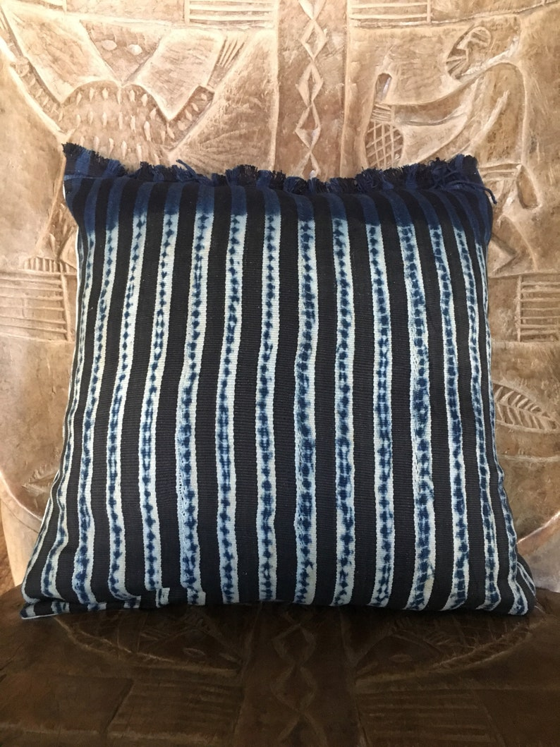 African indigo Pillow Cover  Ethnic Pillow Cover  African image 0