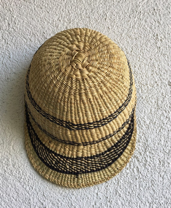 African Straw Hat, Decorative Woven Bolga Sun Cap - image 6