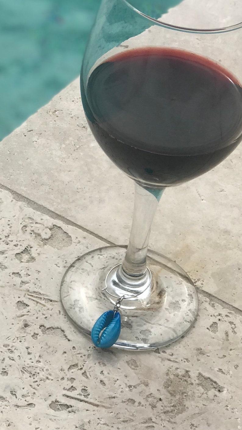 Sea Shell wine glass charms nautical