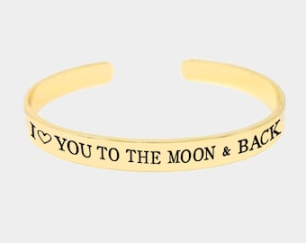 I love you to the moon and back - inspired bangle bracelet