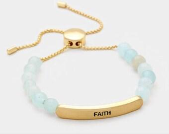 Faith semi percius stone metal bar bracelet 4 color