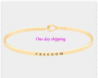 FREEDOM, inspired bangle bracelet