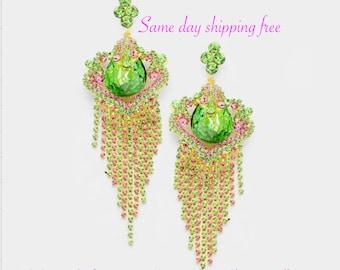 OVERSIZED TEARDROP Crystal Pave  Fringe Evening  Earrings