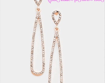 DOUBLE  Rhainstone  Pave  Link Dangle earring
