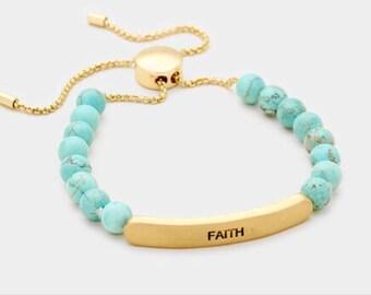 Faith semi percius stone metal bar bracelet
