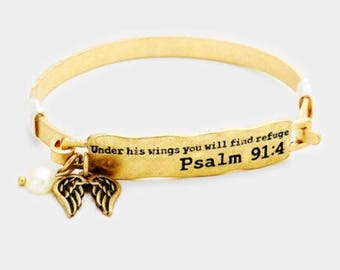Psalm 91:4 inspired bangle