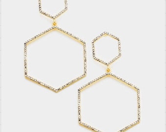GEO DOUBLE HEXAGON Rhainstone  Pave Link Dangle  Rarrrings