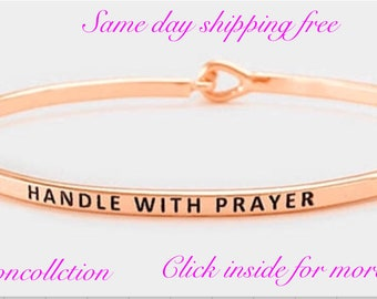 Handle with prayer - inspired thin hook bracelet
