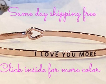 I love you more - inspired thin hook bracelet
