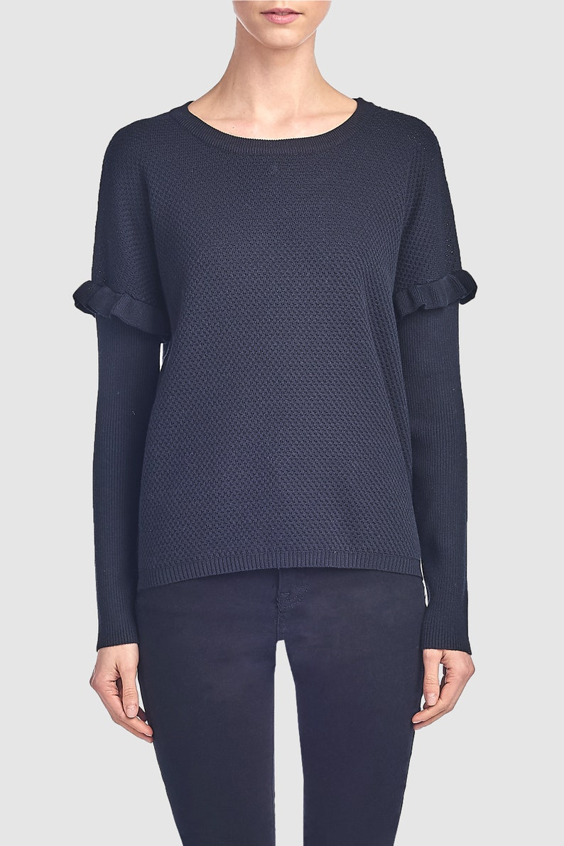 Waffle Knit Sweater For Women Sweaters For Women Long Sleeve Women Sweater Knitted Casual sweater Crew Neck Sweater Knit Women Sweater