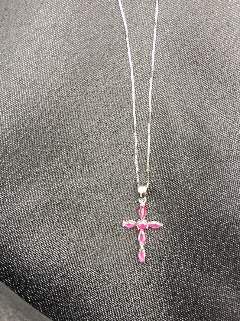Introductory Price Untreated Red Ruby Cross Pendant Necklace