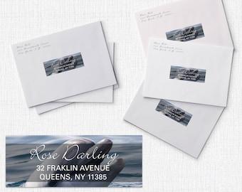 Address Label, Custom Address, Address Labels, Dolphin Address, Return Address Labels, RSVP Address - Standard 1 x 2 5/8