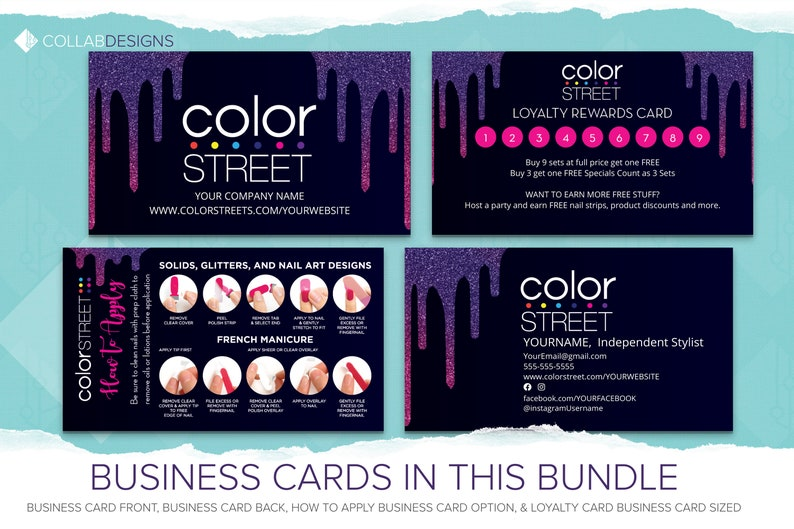 Colorstreet Price Twosie Marketing Bundle Instant download Avery\u2122  Ready Labels Black Glitter Sign Up Thank you Editable PDFs