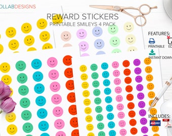 Printable Stickers, smiley face stickers, chart stickers, fun kids stickers, reward stickers Instant Download - Style Action Set