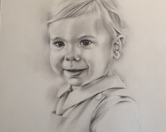 Custom portrait from photo, graphite pencil