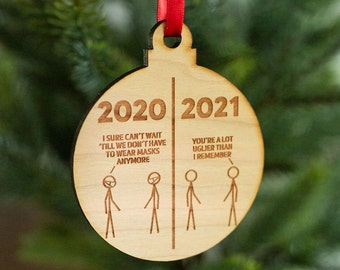 2020 vs 2021 - Engraved Wooden Christmas Ornament Charm, Funny Holiday Mask Ornament, Funny Christmas Tree Decoration, 2021 Ornament