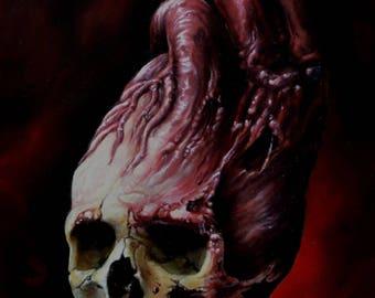 Heart Skull- Original Artwork Print