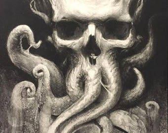 Tentacle Skull-  Original Artwork Prints