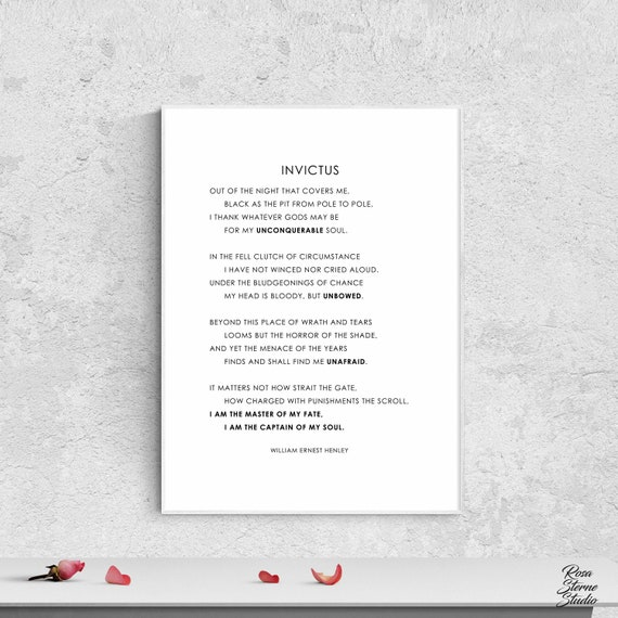 Invictus Poem Print Invictus By William Ernest Henley Invictus Print Invictus Poster Invictus Wall Art Master Of My Fate Captain Of My Soul