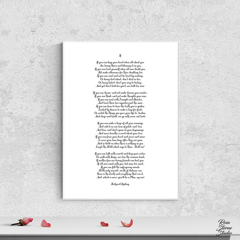 picture about If by Rudyard Kipling Printable identify If Rudyard Kipling poster If poem Rudyard Kipling inspirational printable estimates Rudyard Kipling if dorm place wall decor