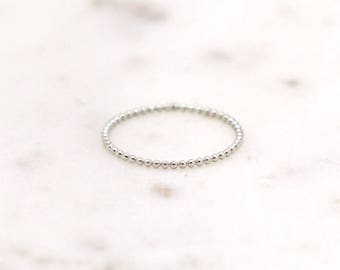 Dainty Sterling Silver Bead Ring-stackable ring-bubble ring-dainty ring