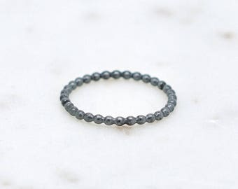 Oxidized Sterling Silver Bead Ring