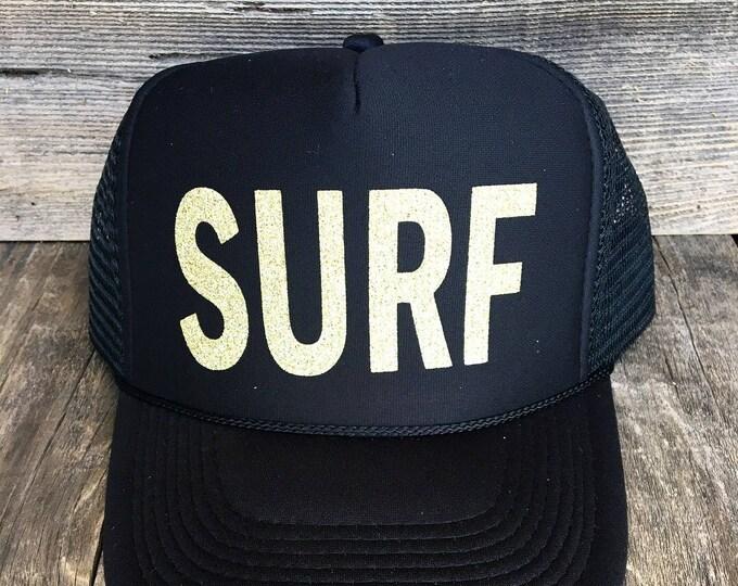 Surf Black Foam Trucker Hat With Gold Glitter Font