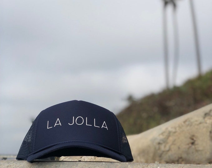 La Jolla Navy Blue Trucker Hat With White Font, Mens La Jolla Trucker Hat, Womens La Jolla Trucker Hat
