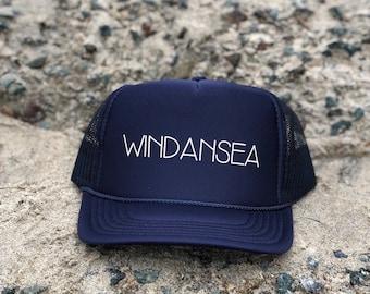 Windansea Navy Blue Trucker Hat With White Font, Womens Windansea Trucker Hat, Mens Windansea Trucker Hat