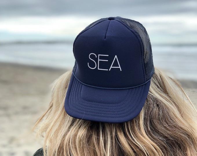 Sea Navy Blue Foam Trucker Hat For Men And Women