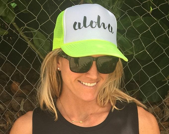 Aloha Neon Foam Trucker Hat, Women's Aloha Trucker Hat, Men's Aloha Trucker Hat, Trucker Hats For Hawaii