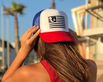 Mermaid Flag Red White Blue Foam Trucker Hat.